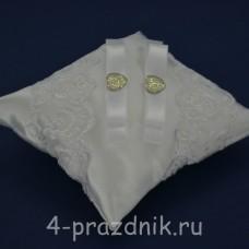 Подушка под кольца,атласная с белым кружевом  podushka040