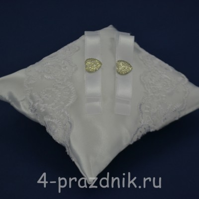 Подушка под кольца,атласная с белым кружевом  podushka040 оптом