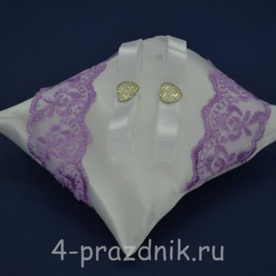 Подушка под кольца,атласная с сиреневым кружевом  podushka046 оптом