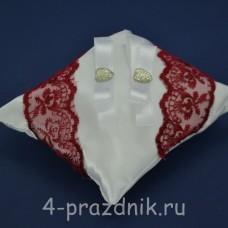 Подушка под кольца,атласная с бардовым кружевом  podushka047