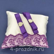 Подушка под кольца,атласная с фиолетовым кружевом  podushka061