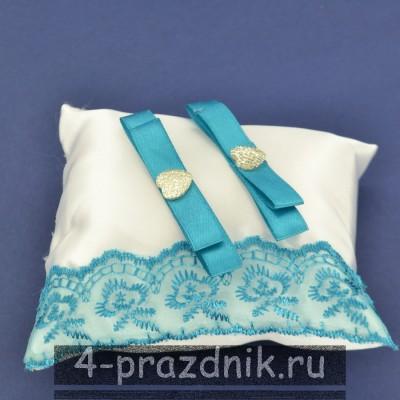 Подушка под кольца,атласная с бирюзовым кружевом  podushka062 оптом