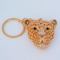 """B8-5013 (12) Брелок для ключей """"Леопард"""" , цинковый сплав, эмаль, стразы, 4,5*2*12 см, 2 вида"""