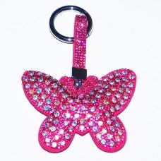 """B8-6009 Брелок для ключей """"Бабочка"""" , иск.кожа, стразы, 8*1,5*13,5 см, 1 вид"""