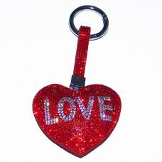 "B8-6014 Брелок для ключей ""Сердце"" , иск.кожа, стразы, 7*1,5*12,5 см, 1 вид"