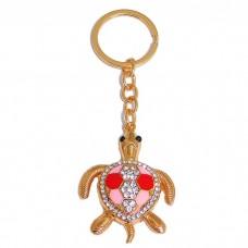 """B8-5012 (12) Брелок для ключей """"Черепаха"""" , цинковый сплав, эмаль, стразы, 4,5*1*12 см, 3 вида"""