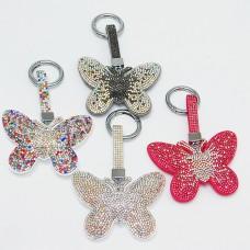 """B8-6007 Брелок для ключей """"Бабочка"""" , иск.кожа, стразы, 8*1,5*13,5 см, 4 вида"""