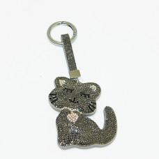 """B8-6008 Брелок для ключей """"Котенок"""" , иск.кожа, стразы, 6,5*1,5*14 см, 3 вида"""