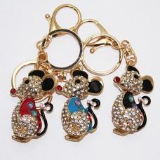 """B8-7024 Брелок для ключей """"Мышка"""" , 3 вида, цинковый сплав, эмаль, стразы, 3*2*12 см,"""
