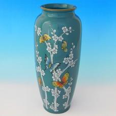"""NI-01137 (8) Ваза для цветов синяя с рисунком """"огурец"""", керамика 15.5*15.5*35см"""