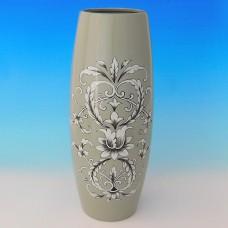NI-01138 (8) Ваза для цветов серая с рисунком, керамика 15*15*35см
