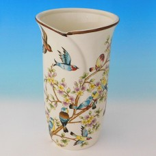 NI-01139 (12) Ваза для цветов бежевая с птицами, керамика 16*16*30см