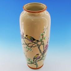 NI-01113 (8) Ваза для цветов бежевая с птицами на ветке, керамика 15.5*15.5*35см