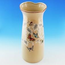 NI-01111 (8) Ваза для цветов бежевая с бабочками, керамика 15*15*33см