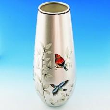 NI-01121 (8) Ваза для цветов серебряная с птицами, керамика 15*15*35см