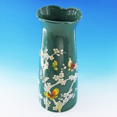 NI-01128 (8) Вваза для цветов голубая с сакурой и птицами, керамика 15*15*33см