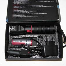 HL-1019 Фонарь светодиод. энергосберег., металлич., функция ZOOM, d линзы 28 мм, длина ручки 10см