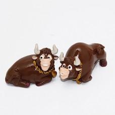 M-YW-33222 (90наб) Набор из 4-х быков, из полистоуна, 4 вида, 7*4*3 см.