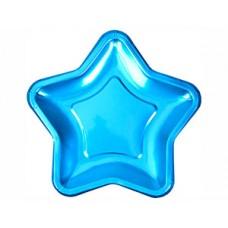 Тарелка фольг Звезда голубая 18см 8шт/N