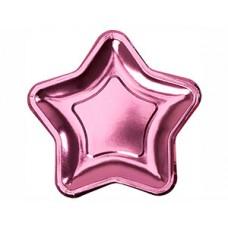 Тарелка фольг Звезда розовая 18см 8шт/N