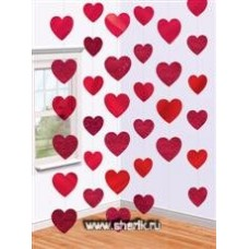 Украшение на дверь Сердца красные 2,1м/A