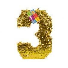 Пиньята Цифра 3 Золото