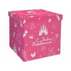 Коробка д/надутых шар 60см С ДР розовая