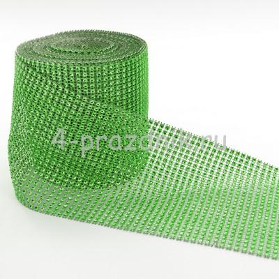 Лента в виде сеточки со стразами зеленая straz033 оптом