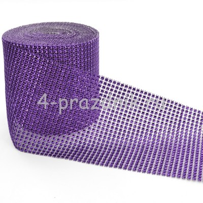 Лента в виде сеточки со стразами фиолетовая straz035 оптом