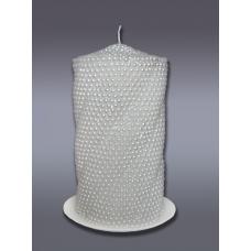 Свеча пенек витой жемчужный белая хамелеон 2123