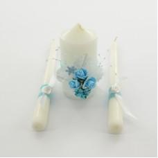 Набор свадебных свечей с апликацией голубого  цвета sve023