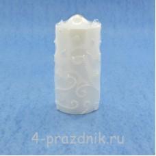 Свеча пеньковая белая с абстрактным узором sve104