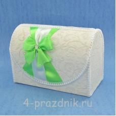 Сундук для сбора денег с яблочно-зеленым бантом sbor046