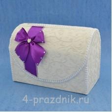 Сундук для сбора денег с фиолетовым бантом sbor048