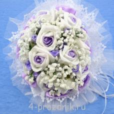 Букет дублёр невесты бело-сиреневый bukn005