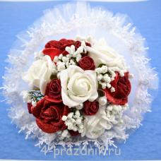 Букет дублёр невесты красно-белые bukn018