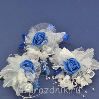 Бутонерки синие с белым but012 оптом