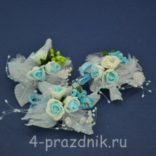 Бутонерки голубые с белым but016