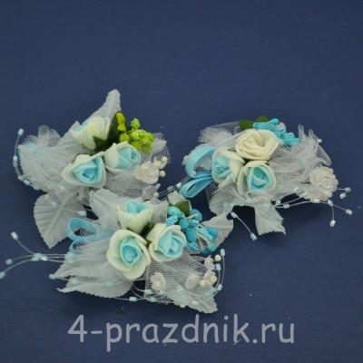 Бутонерки голубые с белым but016 оптом