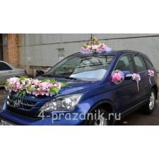 Свадебный набор на авто из розовых цветов ukav401