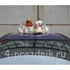 Украшение на авто Кольца на крышу с медвежатами и шишками ukav316