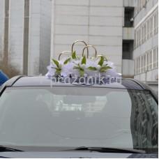 Кольца на крышу в виде сердец с тюльпанами, белые ukav361