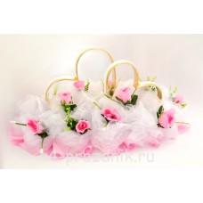 Кольца на крышу в виде сердец с розовыми розами и белым фатином, ukav366