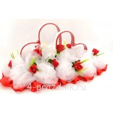Кольца на крышу в виде сердец с красными розами и белым фатином, ukav368