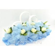 Кольца на крышу в виде сердец с белыми розами и  голубым фатином, ukav369