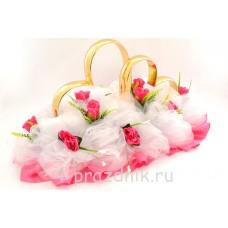 Кольца на крышу в виде сердец с розовыми розами и белым фатином, ukav370