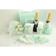 Свадебный набор для стола с подвязкой, букетом и подушкой для колец в цвете  тиффани svst004