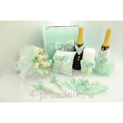 Свадебный набор для стола с подвязкой, букетом и подушкой для колец в цвете  тиффани svst004 оптом
