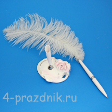 Ручка-перо на подставке Розовая Роза GL-142003