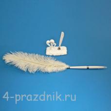 Ручка-перо на подставке Два сердца GL-154003